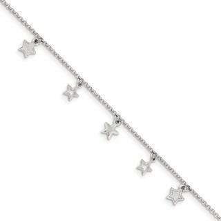 Versil Sterling Silver Children's Polished Star Bracelet