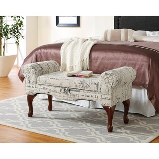Lilion English Script Print Linen Storage Arm Bench