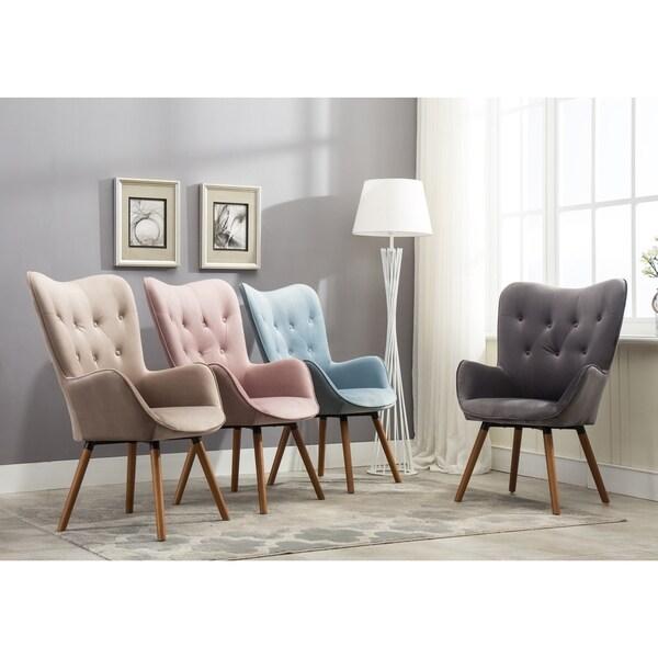 Doarnin Button Tufted High Back Velvet Accent Chair Free