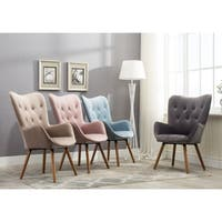Carson Carrington Arvika Button Tufted High Back Velvet Accent Chair