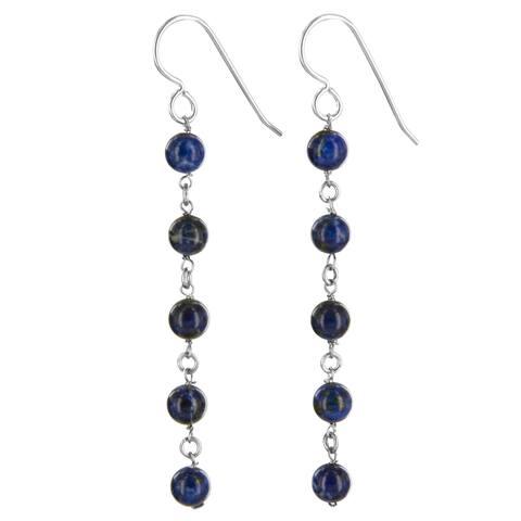 Lapis Lazuli Gemstone Silver Handmade Earrings