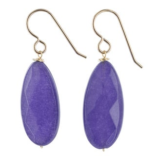 Ashanti Purple Jade Quartz Gemstone 14K GF Handmade Earrings