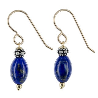 Lapis Lazuli 14K GF Sterling Silver Bali Bead Handmade Dangle Drop Earrings. Ashanti Jewels - Dark blue