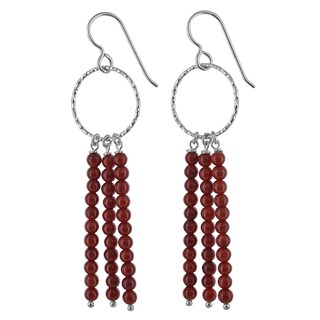 Ashanti Red Coral Bamboo Beads Sterling Silver Handmade Long Dangle Chandelier Earrings