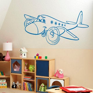 Cartoon Smiling Air Plane Vinyl Decal Art Mural Sticker Interior Design Kids Room Decor Sticker Decal size 33x52 Color Black