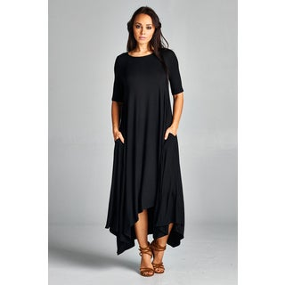 Spicy Mix Women's Isla Short-sleeve Hi/ Lo Hem Tunic Maxi Dress with Front Pockets