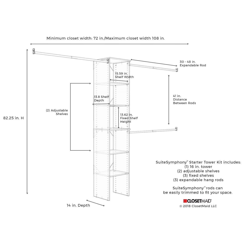 Closetmaid Suitesymphony Starter Closet 16 Inch Wide Tower Kit