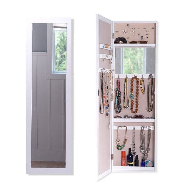 shop hives honey paige crisp white over the door jewelry mirror free shipping today. Black Bedroom Furniture Sets. Home Design Ideas