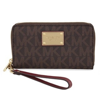 Michael Kors Jet Set Large Brown/Red Smartphone Leather Wristlet