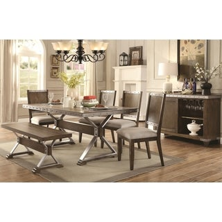 Wine Barrel Industrial Design Dining Set with Buffet Wine Rack Server
