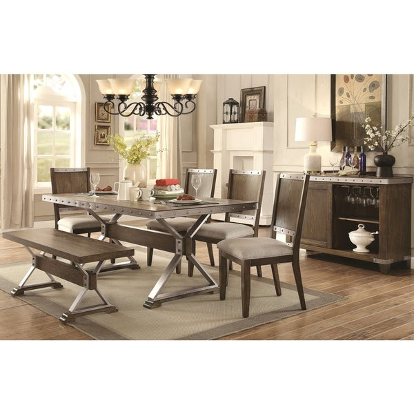 High Quality Wine Barrel Industrial Design Dining Set With Buffet Wine Rack Server Part 27