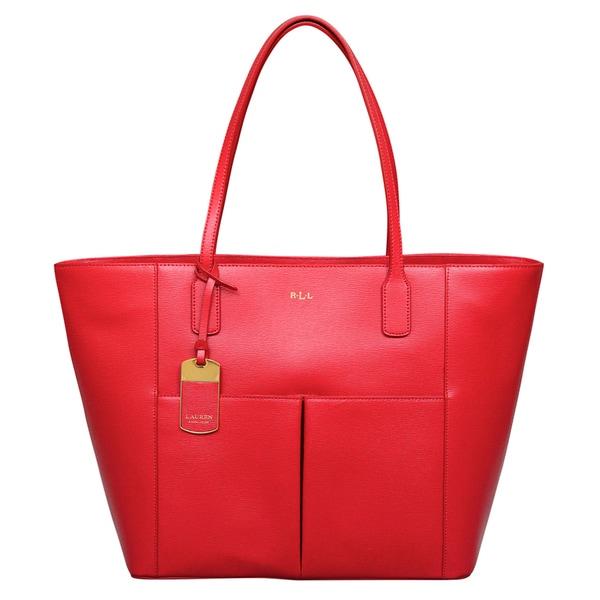 8ae9f8ccfb9 Shop Ralph Lauren Red Leather Newbury Pocket Tote Bag Handbag - Free ...