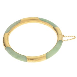 Gems For You 14k Yellow Gold Over Silver Jade Bangle Bracelet