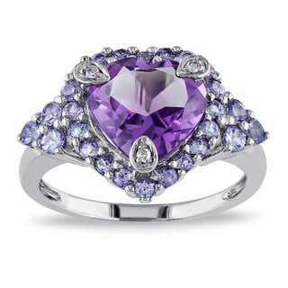 Miadora 10k Gold Amethyst and Tanzanite Ring Size 6 (As Is Item)