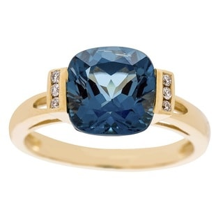 Anika and August 14k Yellow Gold London Blue Topaz and Diamond Accent Ring