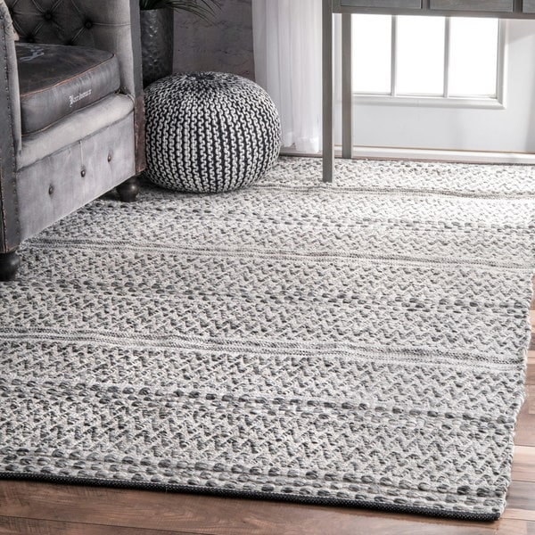 Shop Nuloom Silver Flatweave Chevron Striped Indoor