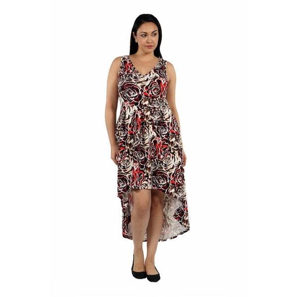 24/7 Comfort Apparel Dazzling High Low Swirl Plus Size Dress