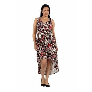24/7 Comfort Apparel Dazzling High Low Swirl Plus Size Dress