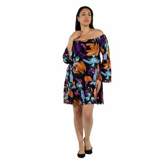 24/7 Comfort Apparel Lush Tropical Drama Plus Size Party Dress