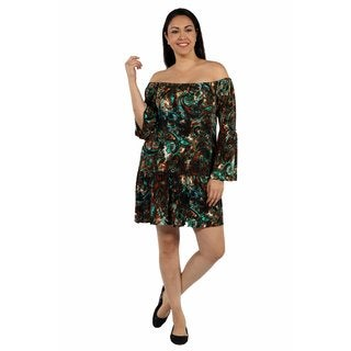 24/7 Comfort Apparel Peacock Party Dress Plus Size with Drop Waist Style