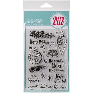 Avery Elle Clear Stamp Set 4X6-Retro Ornaments