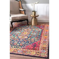 nuLOOM Distressed Traditional Flower Persian Multi Rug (5'3 x 7'7) - 5' x 8'