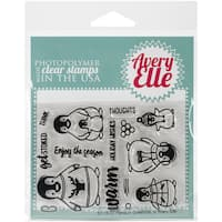 Avery Elle Clear Stamp Set 4X3-Penguin Greetings