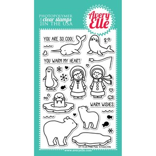 Avery Elle Clear Stamp Set 4X6-Polar Pals