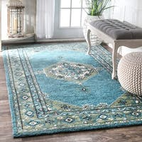 nuLOOM Handmade Persian Traditional Medallion Aqua Rug (7'6 x 9'6)
