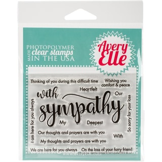 Avery Elle Clear Stamp Set 4X3-With Sympathy