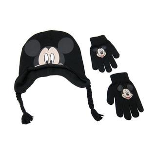 Disney Men's Mickey Black Acrylic Peruvian Beanie and Gloves Set