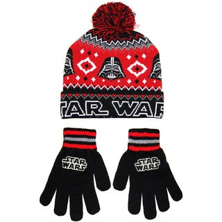 Star Wars Men's Darth Vader Black Acrylic Beanie and Glove Set