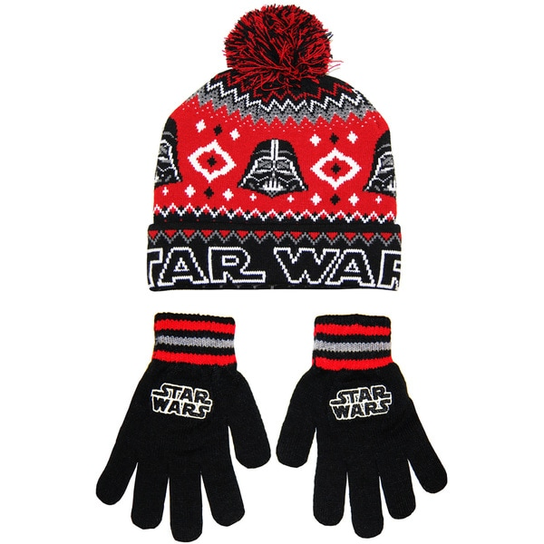Star Wars Men's Darth Vader Black Acrylic Beanie and Glove Set