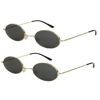 Mechaly Men's Round Lennon Sunglasses (Set of 2 Pairs)