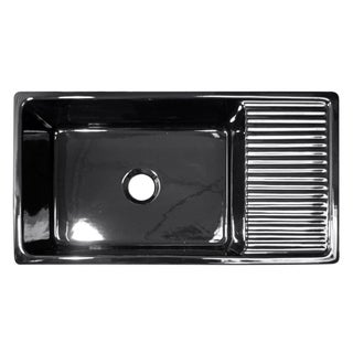 Large Quatro Alcove reversible fireclay sink with integral drain board and decorative 2 ½ inch lip on both sides