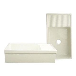 Large Quatro Alcove reversible fireclay sink with integral drain board and decorative 2 ½ inch lip on both sides - Biscuit