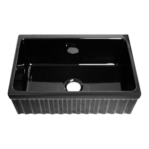 "Quatro Alcove reversible fireclay sink with fluted front apron and decorative 2 ½ inch lip one side and 2"" lip on other - Black"