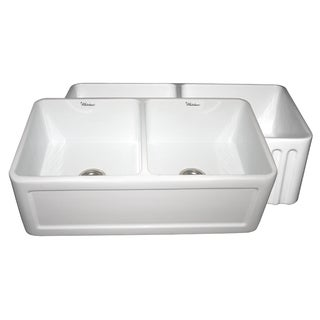 Reversible series double bowl fireclay sink with Concave front apron one side and fluted front apron on other