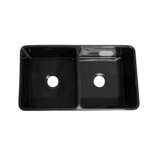 Duet reversible double bowl fireclay sink with smooth front apron