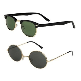 Mechaly Men's Plastic Classic Clubmaster and Round Lennon Style Sunglasses (Set of 2 Pairs)