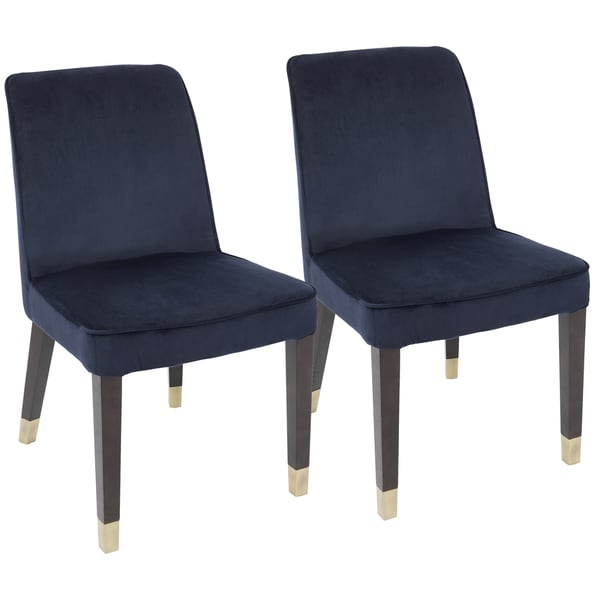 LumiSource Zora Contemporary Velvet Wood Dining Chairs (Set Of 2)