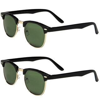 Mechaly Men's Plastic Classic Clubmaster Style Sunglasses (Set of 2 Pairs)
