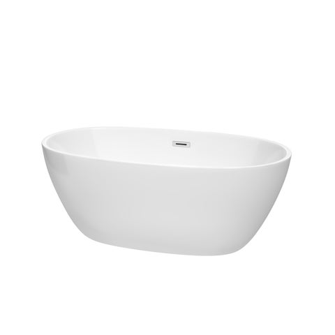 Wyndham Collection Juno White 59-inch Freestanding Bathtub