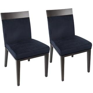 Denver Navy Blue Velvet Contemporary Dining Chair (Set of 2)