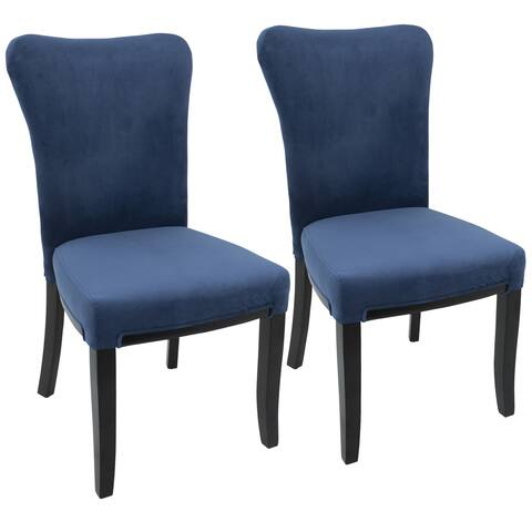 LumiSource Olivia Contemporary Velvet and Wood Dining Chair (Set of 2) - N/A