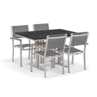 Oxford Garden Travira 5-Piece Bistro Set with 34-inch x 48-inch Lite-Core Charcoal Table - Vintage Tekwood, Titanium Sling