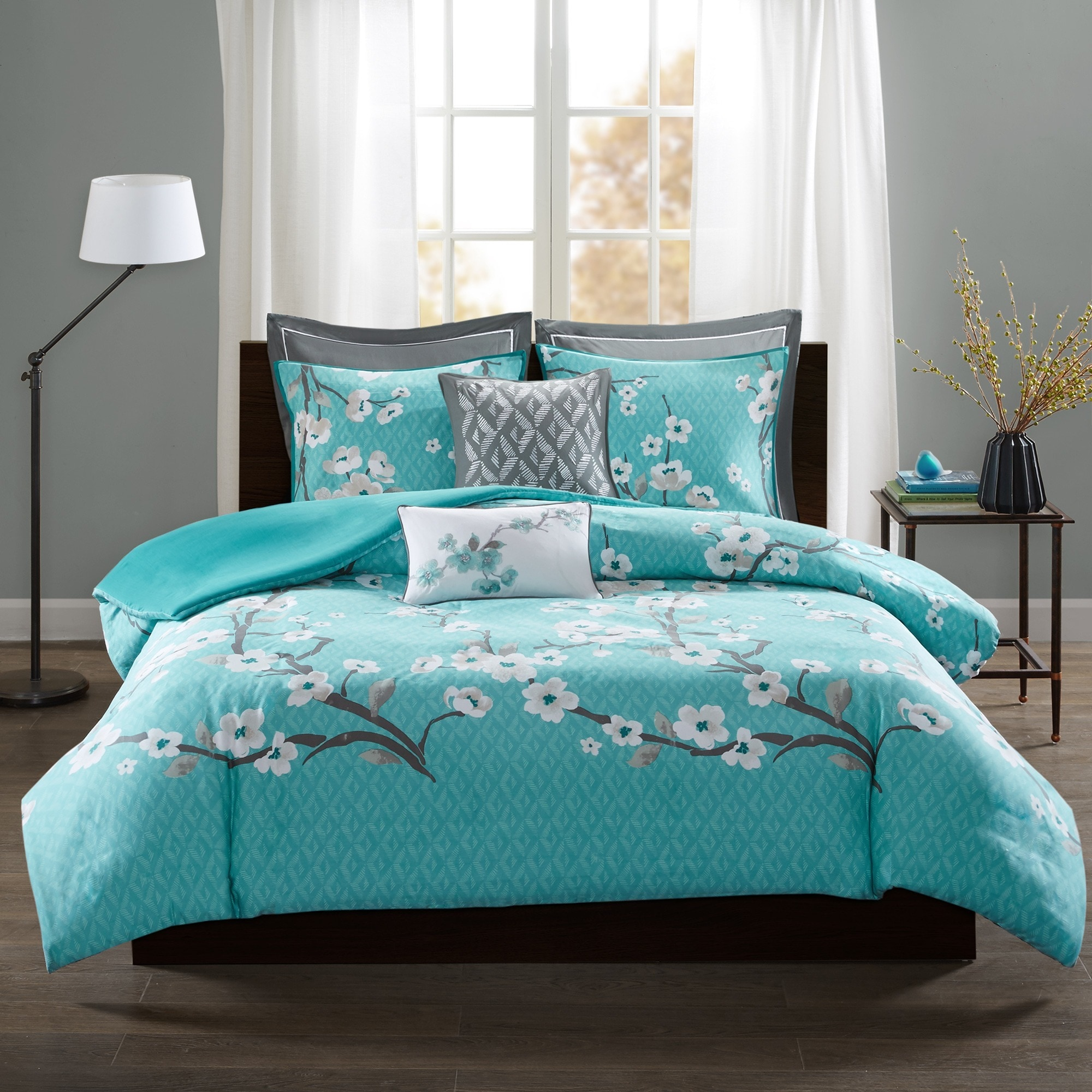 Madison Park Isabella Teal 7 Piece Cotton Duvet Cover Set