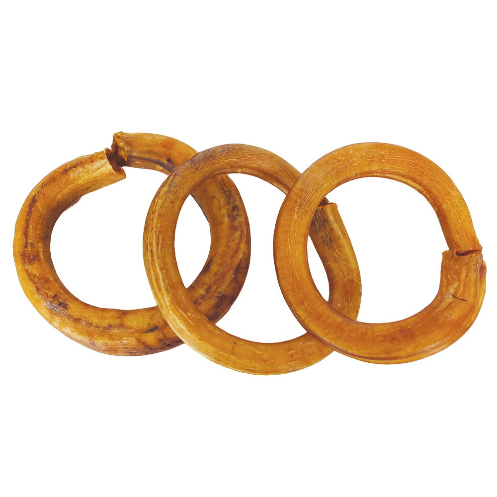 Odorless Bully Stick Rings Dog Treat (3 Pack), Grey