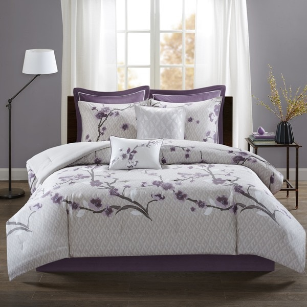madison park isabella purple 8 piece cotton comforter set free shipping today. Black Bedroom Furniture Sets. Home Design Ideas