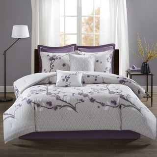 Madison Park Isabella Purple 8 Piece Cotton Comforter Set